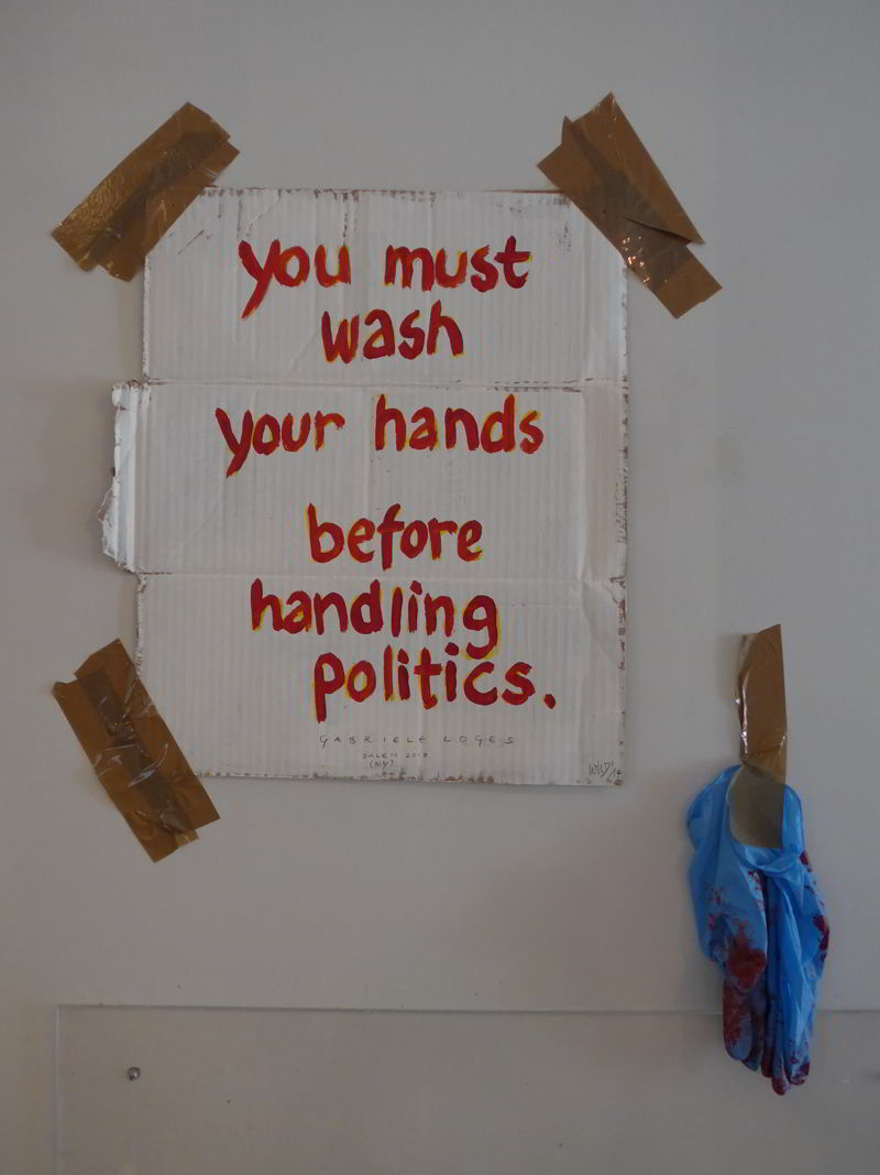 You must wash your hands before handling politics